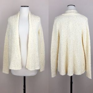LOFT Cream Stretch Knit Open Front Sweater NWT